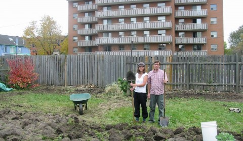 People with shovels at Stanley St. Backyard Harvest site, Hamilton, Ontario